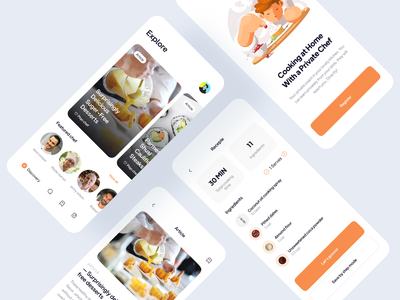Cooking App UI recipe mobile app design concept uiux design uiux mobile app design ios app recipes minimalist mobile app learn cooking private chef cook food app minimal cooking app chef cooking