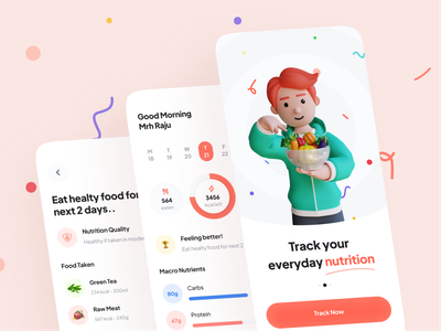 Nutrition Tracker 3d character 3d illutration mobile design mobile ui ui uiux design healthy life assistant app health assistant activity tracking application rinex minimalist minimal design health tracker protein diet calories nutrition nutrition tracker