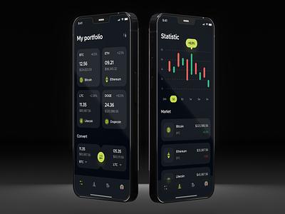 Coinx Crypto Wallet mobile design dark theme dark ui piqo design trading finance fintech ui design interface mobile app mobile ui investment app bitcoin wallet blockchain bitcoin invest investment crypto wallet crypto