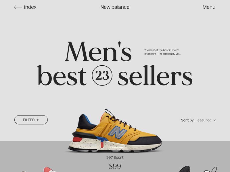 New Balance typography website design