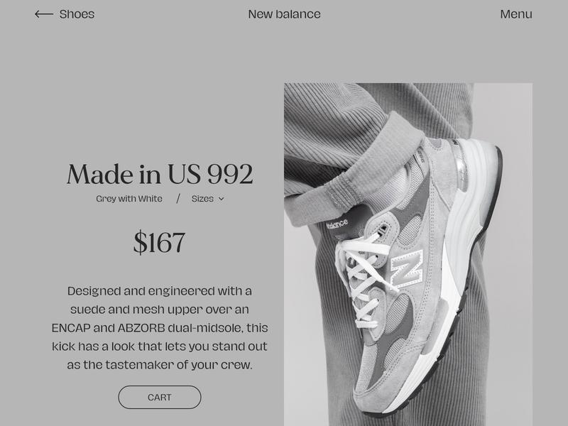 New Balance minimal flat ui ux typography website design