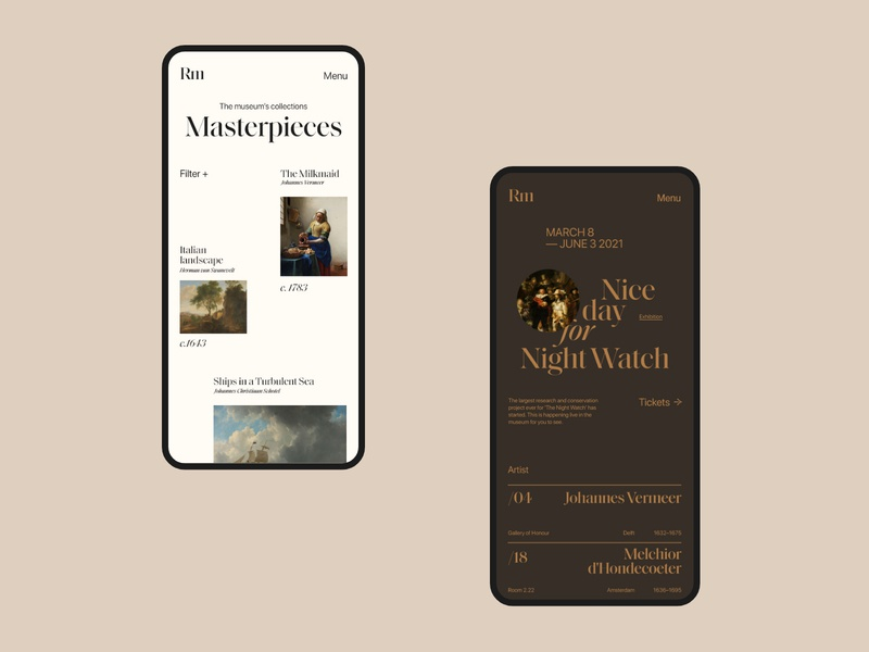 Rijksmuseum web ui minimal typography website design