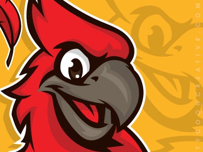 Kid Cardinal cardinal bird avian feather mike ray ink tycoon tycoon creative t-shirt design mascot baseball vector illustration