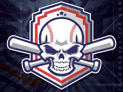 Skull Baseball with bats skull baseball bats vector illustration mike ray tycoon creative ink tycoon team mascot