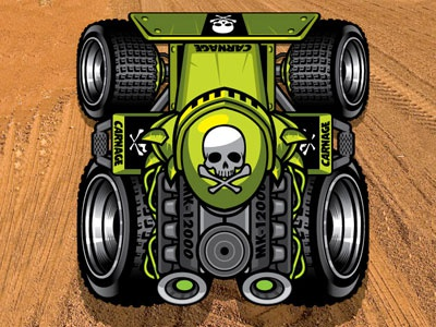 Race App game racing perspective off road car tires skull crossbones little green machine