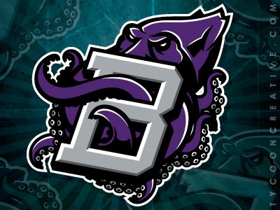 Kraken mascot interlock kraken mascot logo highschool mascot branding vector tycoon creative ink tycoon mike ray