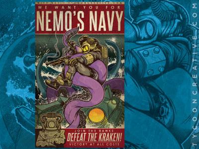 Nemo's Navy captain nemo captain nemo illustration vector 20 000 leagues under the sea tycoon creative kraken nautilus dive diving
