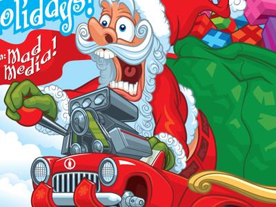 Ratfink Santa christmas holiday hotrod presents illustration vector tycooncreative santa claus rat fink
