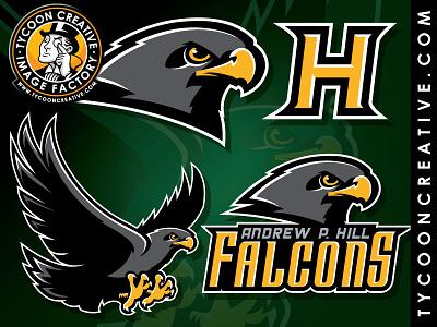 Andrew P Hill school branding brand design falcon school mascot illustration tycoon tycoon creative mike ray falcon mascot