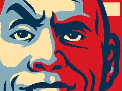 Rock 2020 potus president poster design illustration vector dwayne johnson the rock