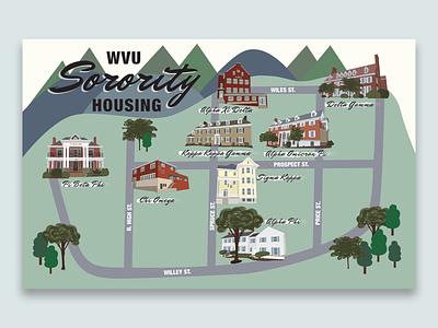 WVU Sorority Housing adobe illustrator illustrated map map procreate illustration houses