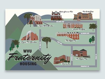 WVU Fraternity Housing adobe illustrator procreate illustrated map map illustraion houses