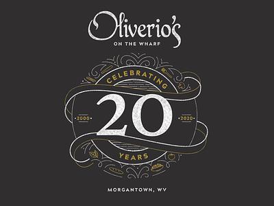 Oliverio's 20 Year Celebration procreate adobe illustrator italian restaurant restaurant italian 2020 illustration logo