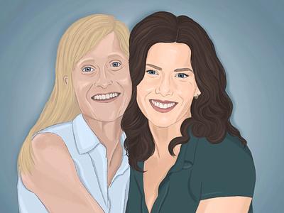 Mom And Lorelei portrait illustration portrait applepencil ipad illustration procreate