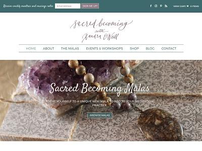 Sacred Becoming Homepage woocommerce web design