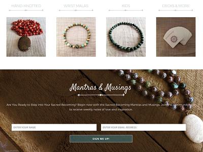 Sacred Becoming Homepage on scroll woocommerce web design