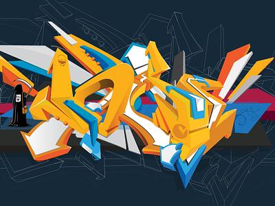 Noize 3d colorful illustration graffiti