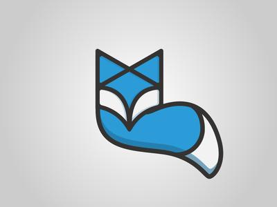 Foxtech blue tech symbol mark logotype logo illustration identity fox face design animal