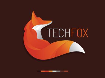 Foxtechv3 red tech symbol mark logotype logo illustration identity fox face design animal