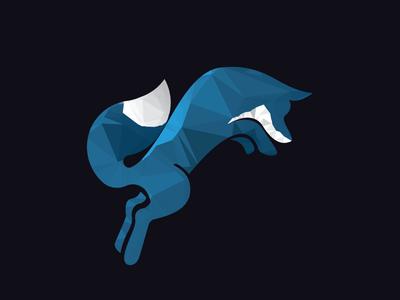 Techfox V3 jumping fox low poly brand illustration tech blue fox logo