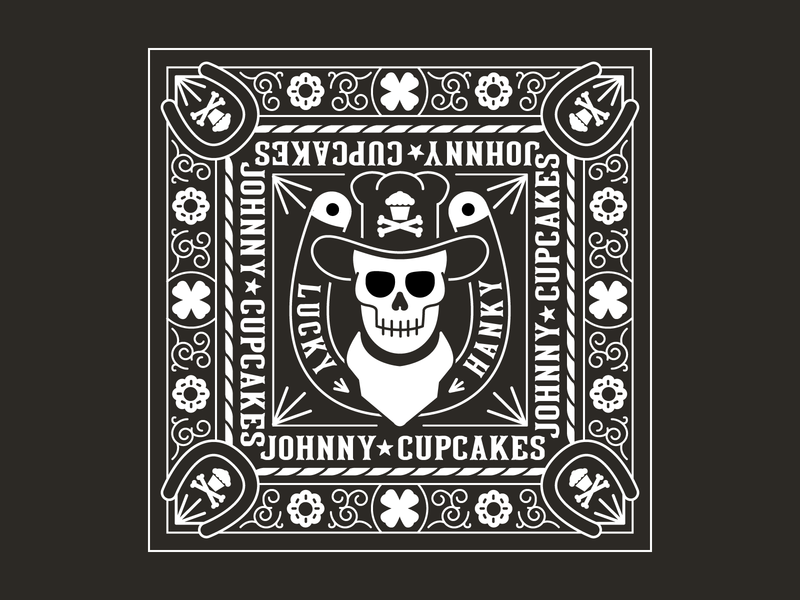 Cowboy Handkerchief graphicdesign graphic graphic design branding bandana tattoo design illustration baking dessert cupcakes vector johnnycupcakes