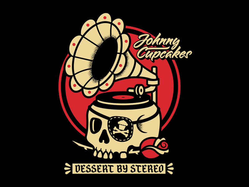 Johnny Cupcakes Skull-Phono phonograph skulls skull records record tattoo graphic design graphicdesign design illustration vector johnny cupcakes johnnycupcakes