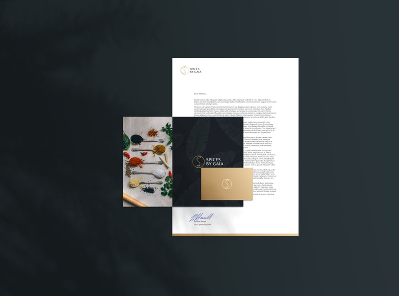 Spices by Gaia Stationery folder businesscard letterhead luxury stationery modern minimal herb herbs food spices boutique branding logo