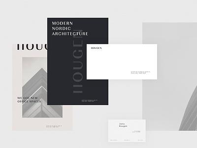 Hougen Arkitekter Stationery Items white space minimal luxury print a4 flyer stationery architecture modern
