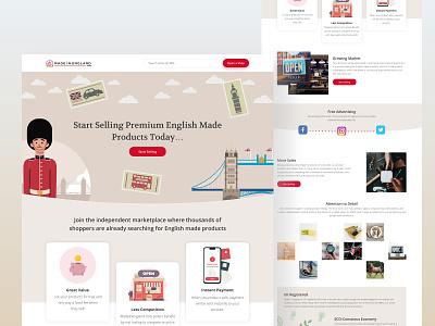 Independent Marketplace UI/UX light brown beige red branding web design conversion rate optimisation website landing page illustration england british ux design ux ui  ux ui design ui