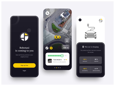 Self-driving Taxi App Interface wales moken mobile app ui design electric vehicle taxi uber taxi app interface design design agency digital design agency web design ux design ux ui