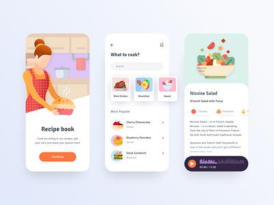 Food Recipe App design illustration moken design agency ui design ux design recipe food app ux ui
