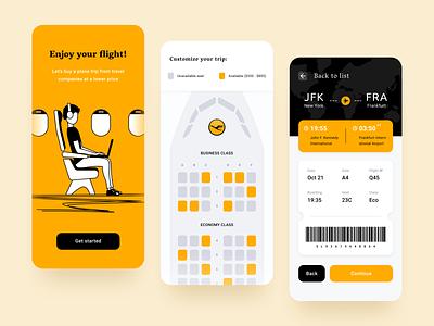 Airline App UI black airline app flight app yellow web design moken ui  ux design agency ui design ux design ux ui