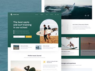 Surf School Website surfboard green blue ocean watersports surfing surf ui  ux moken design agency ui design ux design ux ui