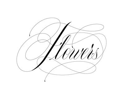 flowers postcard design wedding card elegant type script caligraphy flowers copperplate logo lettering design