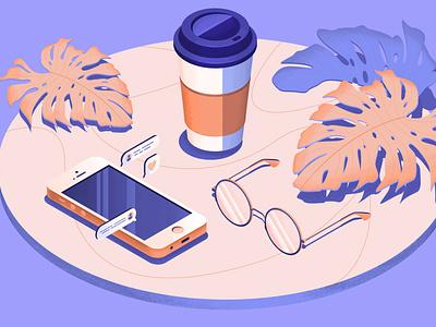 isometry coffee phone glasses phone coffee cup 3d isometric illustration isometric design isometric art isometric isometry 3d art vector illustration design