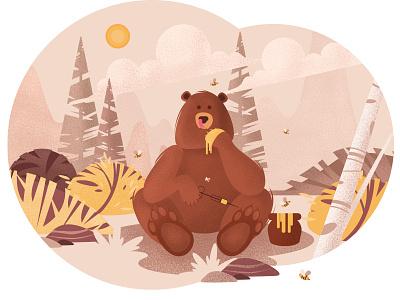 bear landscapes landscape illustration landscape honey nature forest bear vector illustration design