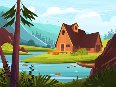 landscape landscape illustration landscape design house design vector landscape illustration