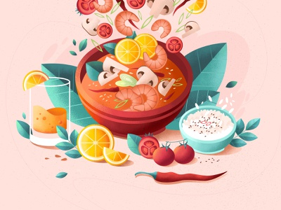 food grain digital juice design eating photoshop dinner soup texture cartoon food illustration restaurant cooking flat