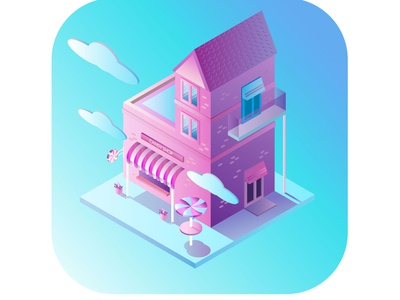 isometry candy candy candy shop isometric illustration isometry architecture pink 3d art 3d illustration branding