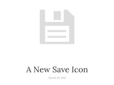 A New Save Icon