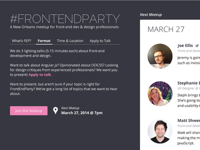 FrontEndParty Alterations talks pink dark tabs avatars circles meetup event frontendparty details