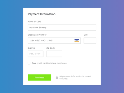Daily UI #002 – Credit Card Checkout credit card purchase secure visa payment checkout minimalist clean gradient daily 002 dailyui