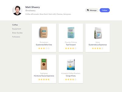 Daily UI #006 –User Profile roasters social light minimal ranking ratings brews coffee profile user