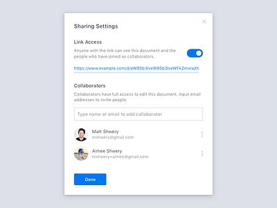 Daily UI #007 –Sharing Settings invite collaborators permissions access 007 dailyui settings sharing share