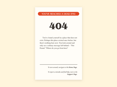 Daily UI #008 –Choose Your Own 404 page 🏰 cyoa adventure own your choose page 404