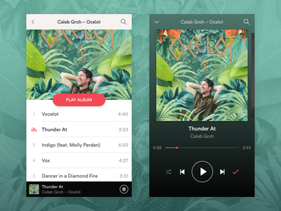 Daily UI #009 –Music Player album pause play songs groh caleb list track player music 009 dailyui