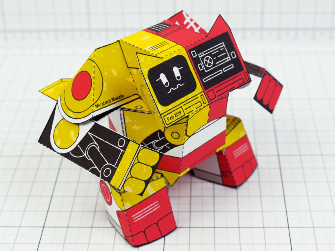 Ketchup & Mustard Robot Paper Toy graphic design packaging sculpture 3d red yellow papercraft craft toy paper papertoy mcdonalds mustard ketchup robot
