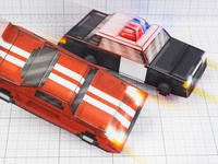 3D Pixel Car Paper Toys