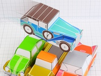 Car Jumping Over Cars - Paper Toy Vintage Cars