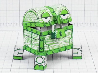 Malicious Mimic Dungeon Paper Toy video game paper craft paper toy chest gameboy pixelart dnd mimic